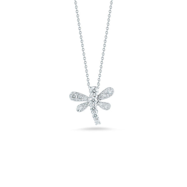 Tiny Treasures 18 karat white gold diamond dragonfly pendant