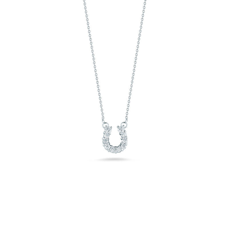 Tiny Treasures 18 karat white gold baby horseshoe pendant
