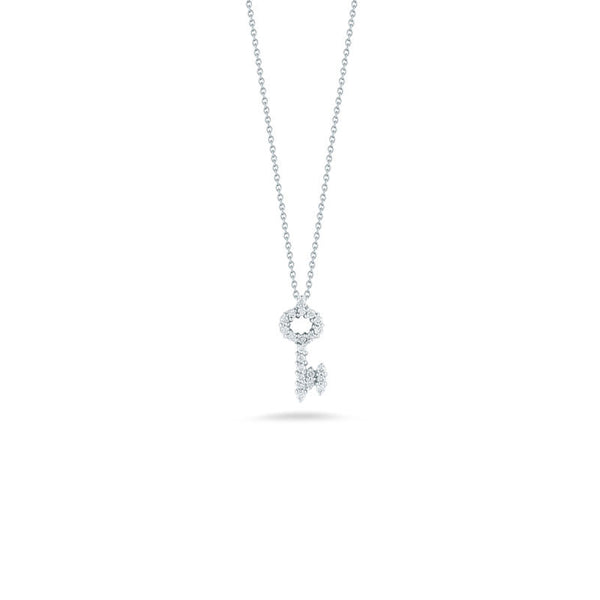 Tiny Treasures 18 karat white gold diamond baby key necklace