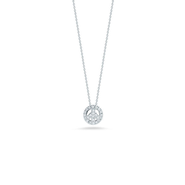Tiny Treasures 18 karat white gold diamond peace necklace