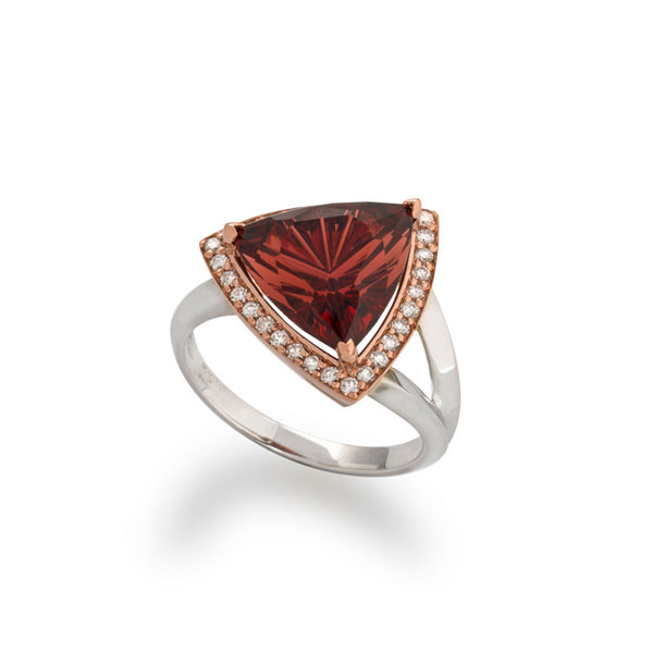 Giardino Collection John Dyer Gypsy Garnet Trillion and Diamond Ring