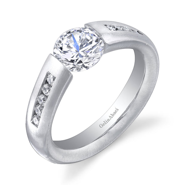 Tension Collection Channel Set Engagement Ring