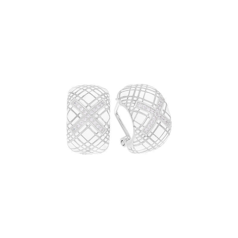 Tartan White Earrings