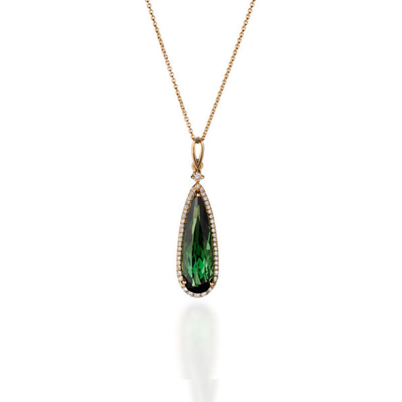 Giardino Collection Pear Cut Green Tourmaline and Diamond Pendant