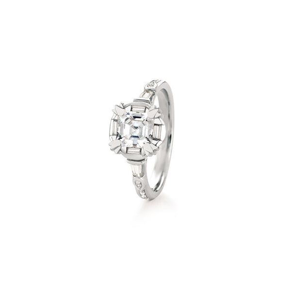 Maevona Hamilton Square-Cut Diamond Engagement Ring