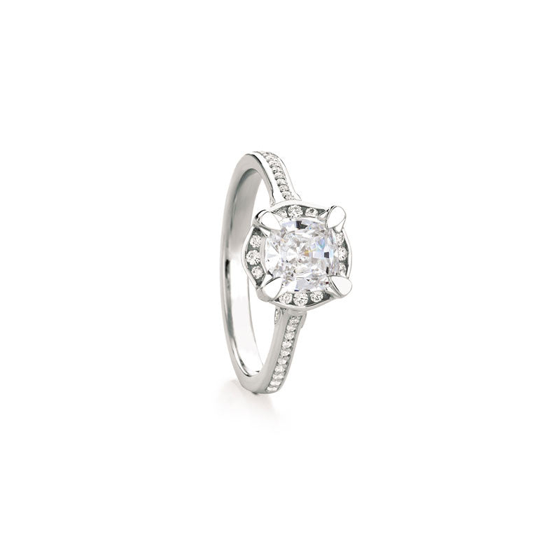 Maevona Hamilton Cushion Brilliant Diamond Engagement Ring