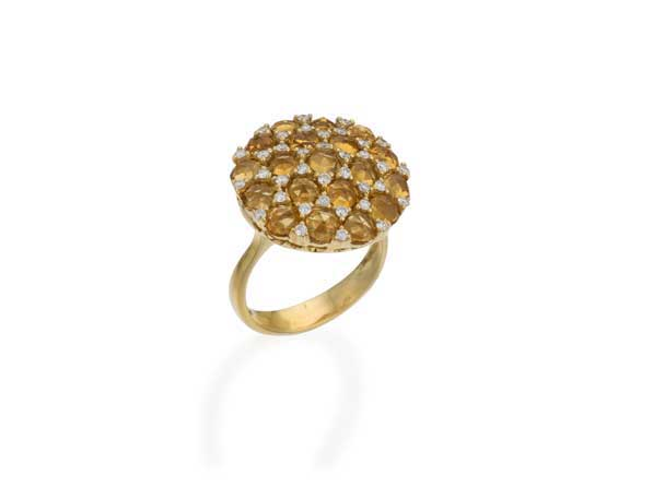Fey & Co. Varenna Jewel Citrine and Diamond ring in 18K Gold