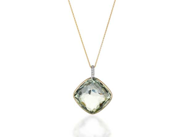 Fey & Co. Varenna Jewel Como Pendant with Green Amethyst and diamond