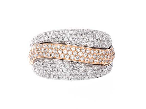 Fey & Co. Varenna Jewel Diamond Pave ring in 18K white and yellow gold