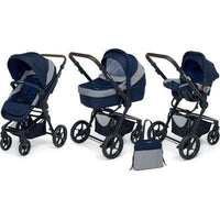 Foppapedretti 3 Chic Travel System with Black Frame (Elegant Blue)