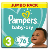 Pampers Active Baby-Dry Size 3 Jumbo Pack 76 Nappies