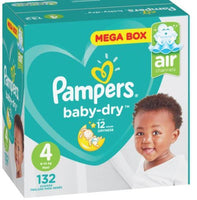 Pampers Active Baby Nappies Mega Box Maxi 132'S
