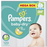 Pampers Baby Dry - Size 4+ Mega Pack - 120 Nappies