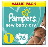 Pampers New Baby-Dry Value Pack Size 1 76 Nappies Helderberg Medical
