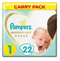 Pampers Premium Care Size 1 Carry Pack 22 Nappies