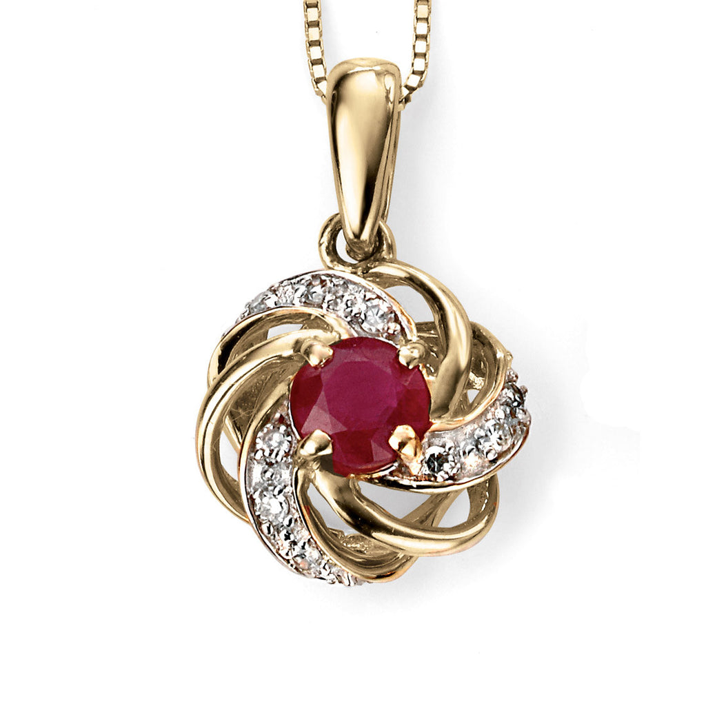 9ct Yellow Gold Ruby And Diamond Cluster Pendant Gp977r W