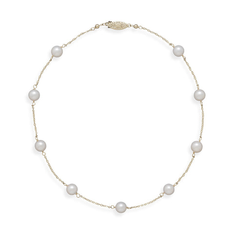 "16"" 14K Yellow Gold Chain with 7mm Grade A Cultured Akoya Pearls"