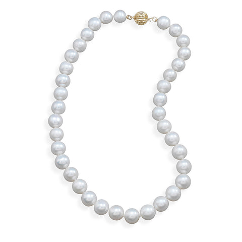 "16.5"" 9.5-10.5mm Cultured Freshwater Pearl Necklace with a Yellow Gold Clasp"