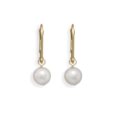 Grade AAA 6.5-7mm Cultured Akoya Pearl Drop Earrings with Yellow Gold Lever Backs