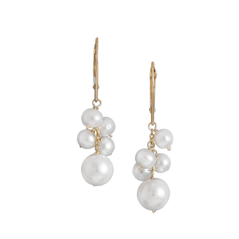 Cultured Freshwater Pearl Cluster Drop 14K Yellow Gold Lever Back Earrings