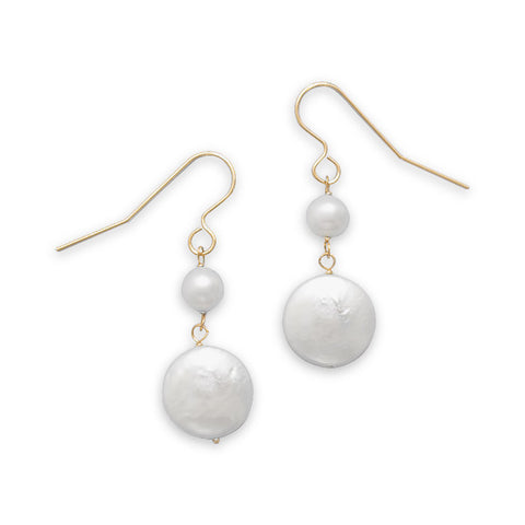 Cultured Freshwater Coin and Round Pearl 14K Yellow Gold French Wire Earrings