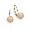 6.5-7mm Peach Cultured Freshwater Pearl Earrings with Yellow Gold Lever Cup