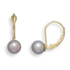 6.5-7mm Mauve Cultured Freshwater Pearl Earrings with Yellow Gold Lever Cup