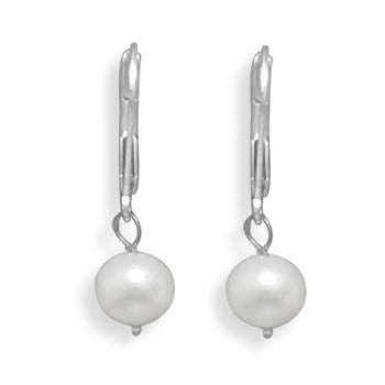 6.5-7mm Freshwater Pearl Drop Earrings with White Gold Lever Back