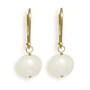 8.5-9mm Cultured Freshwater Pearl Earrings with Yellow Gold Lever Backs