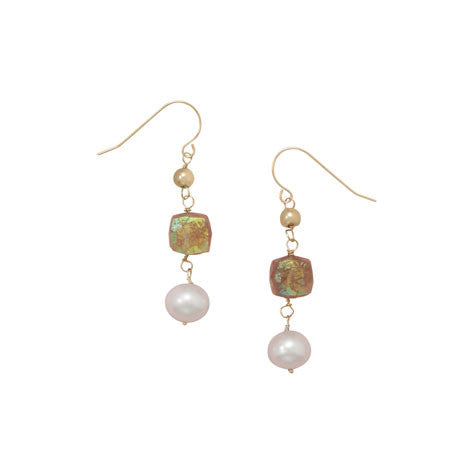 14 Karat Yellow Gold Earrings with Cultured Freshwater Pearl and Quartz