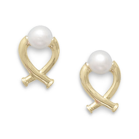 "14K Yellow Gold ""X"" Design Post Earrings Featuring a Cultured Freshwater Button Pearl"
