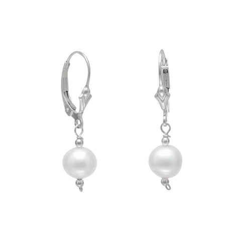 7mm White Cultured Freshwater Pearl with Bead Lever Earrings