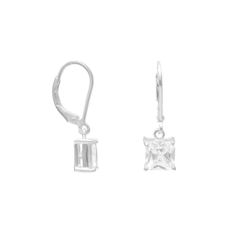 7mm Square CZ Lever Back Earrings