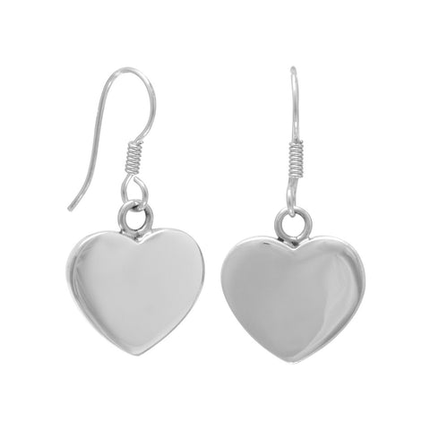 21mm Heart Engravable  Earrings on French Wire