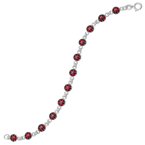 "5.5"" Red and Black Ladybug Bracelet"