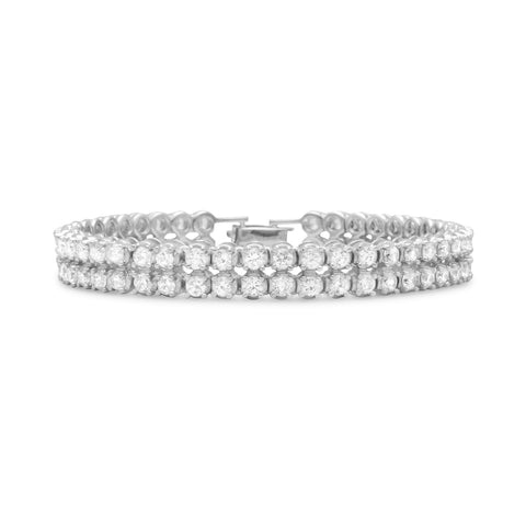 "7.5"" Rhodium Plated 2 Row 4mm CZ Bracelet"