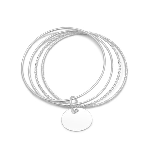 4 Bangle Bracelets with an Oval Tag