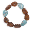 Baltic Amber and Reconstituted Turquoise Nugget Stretch Bracelet