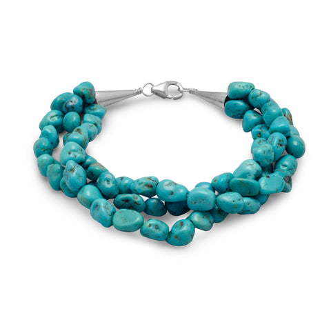 "7.5"" Triple Strand Reconstituted Turquoise Nugget Bracelet"