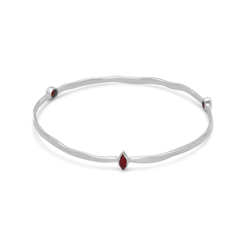 Textured Bangle Bracelet with Rubies