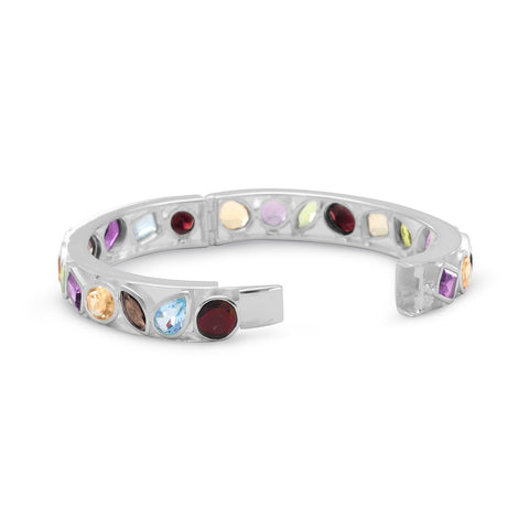 Multishape Stone Hinged Bangle Bracelet