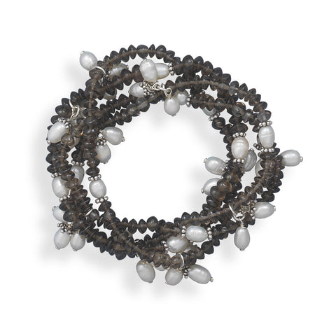 4 Smoky Quartz and Cultured Freshwater Pearl Stretch Bracelets