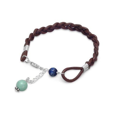 Braided Leather Bracelet with Lapis and Turquoise Beads