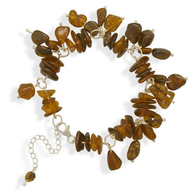 "7""+2"" Extension Baltic Amber Nugget Bead Drop Bracelet"
