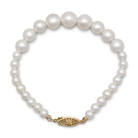 "7.5"" Bracelet with 6mm - 10.5mm Graduated Cultured Freshwater Pearls"