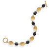 "7.75"" 14 Karat Gold Plated Black Onyx Bracelet"
