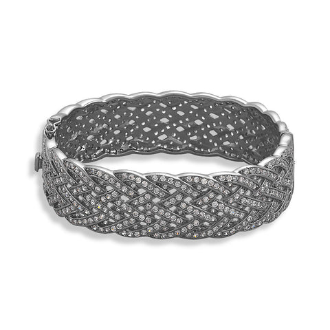 Black Rhodium Plated Braided CZ Bracelet