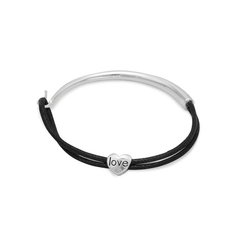 "7"" Black Cord and Sterling Silver Bracelet with Heart Slide"