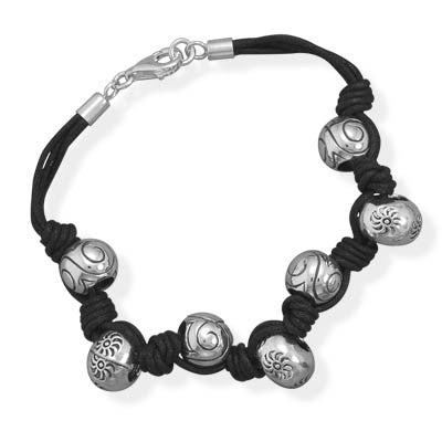 "7.75"" Black Cord with Sterling Silver Bead Bracelet"