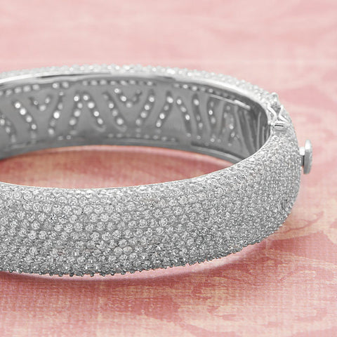 Rhodium Plated Hinged CZ Bangle